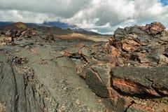 Lava field volcanic eruption active Plosky Tolbachik Volcano, Klyuchevskaya Group of Volcanoes Royalty Free Stock Photography