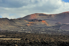 Wild volcanic desert at Timanfaya National Park, Lanzarote Islan Royalty Free Stock Photos