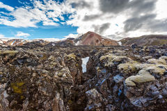 Lava fields in Landmannalaugar valley in Iceland Royalty Free Stock Images