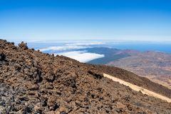 The lava fields of Las Canadas caldera of Teide volcano. View of the valley from the top of the volcano. Tenerife. Canary Islands. Spain stock image