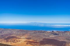 The lava fields of Las Canadas caldera of Teide volcano. View of the valley from the top of the volcano. Tenerife. Canary Islands. Spain royalty free stock photo
