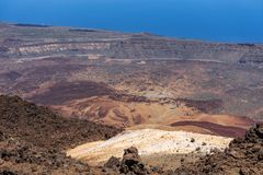 The lava fields of Las Canadas caldera of Teide volcano. View of the valley from the top of the volcano. Tenerife. Canary Islands. Spain royalty free stock images