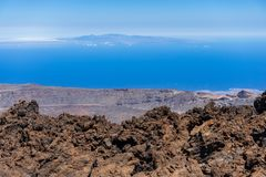 The lava fields of Las Canadas caldera of Teide volcano. View of the valley from the top of the volcano. Tenerife. Canary Islands. Spain royalty free stock photos