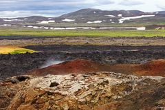Lava fields Leirhnjukur volcano, Iceland Stock Photography