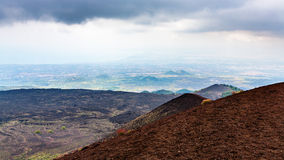 Lava fields on Mount Etna and Ionian Sea coast Stock Image