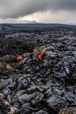Lava fields near erupting volcano Tolbachik at night, Kamchatka Peninsula, Russia. Volcanic landscape royalty free stock images
