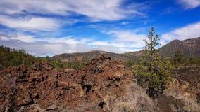 Lava Flow antique au monument national de cratère de coucher du soleil Photographie stock