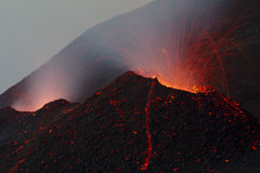 Lava flow in the channeldetail cinder cone Royalty Free Stock Image