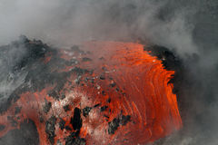 Lava flow. Enters the sea in Hawaii stock photo