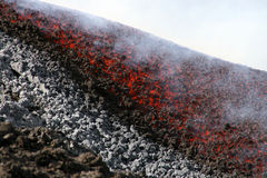 Lava flow on etna volcano. July 2008 royalty free stock image
