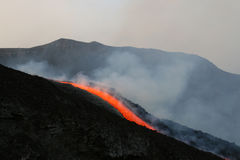 Lava flow on etna volcano. July 2008 royalty free stock photo