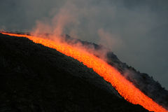 Lava flow on etna volcano. July 2008 royalty free stock images