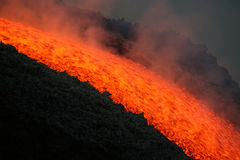 Lava flow on etna volcano. July 2008 stock photos