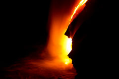 Lava flow at night. In Hawaii royalty free stock image