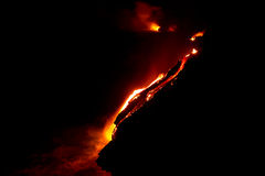Lava flow at night. In Hawaii royalty free stock photo
