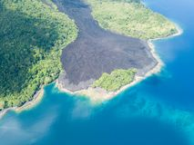 Lava Flow sur le volcan en Indonésie Images libres de droits