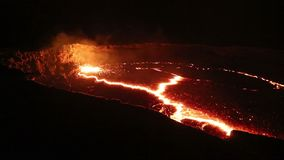 Lava lake of Volcano Erta Ale stock video footage