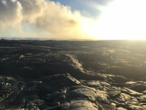 Kalapana Lava flow from volcano into ocean at Kīlauea Big Island Hawaii Stock Photo