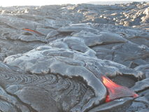 Lava Flowing caldo sulla grande isola, Hawai Fotografie Stock Libere da Diritti