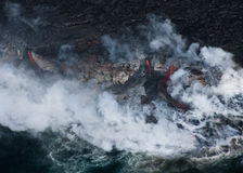 Lava Flowing into Ocean stock image