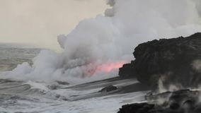 Lava Flowing Into Pacific Ocean stock footage
