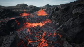 Lava flowing from volcano lava eruption. 3D Rendering. stock image