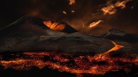 Lava flowing from volcano eruption. royalty free stock photo