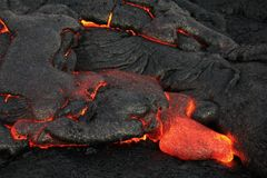 Lava Flows From Hawaiis Kīlauea Volcano. Active lava flow breaks through the crust at the Kalapana lava fields, on the Big Island of Hawaii Stock Images