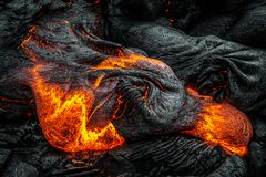 Lava on Hawaii`s Big Island. Lava flows to create new island on the Big Island of Hawaii royalty free stock image