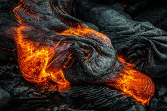 Lava on Hawaii`s Big Island. Lava flows to create new island on the Big Island of Hawaii royalty free stock photos