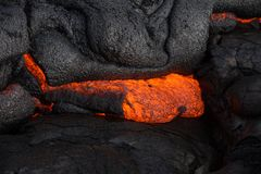 Lava on Hawaii`s Big Island. Lava flows to create new island on the Big Island of Hawaii Stock Photos