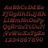 Lava font. Sizzling hot alphabet letters and digits with cracks Stock Photography