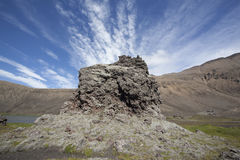 Lava formation beautiful sky and mountain be hind Stock Images