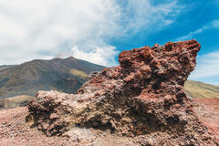Lava formation on Mount Etna volcano Stock Image
