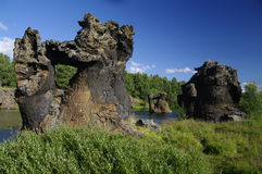 Lava formation at Myvatn, Iceland Royalty Free Stock Images