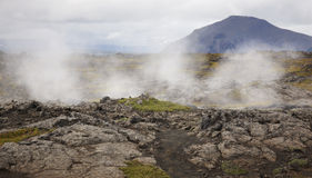 Lava formations and smoking geological ground Iceland Royalty Free Stock Images