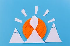 Lava going down the Volcano. Paper cut stock images