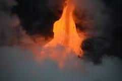 Lava in Hawaii. Lava entry to ocean at Big Island, Hawaii Stock Image