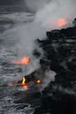 Lava in Hawaii. Lava entry to ocean at Big Island, Hawaii Stock Photography