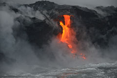 Lava in Hawaii. Lava entry to ocean at Big Island, Hawaii stock image