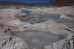 Lava holes in Sol de Manana Stock Photos