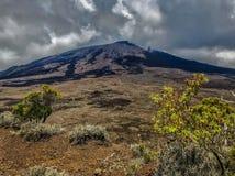 Lava im Tal von Vulkan piton de la Fournaise auf Lawiedervereinigung stockfotografie