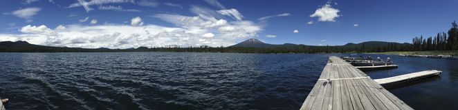 Lava Lake in Oregon. Panorama of boat dock and water at Lava Lake in Oregon Stock Photo