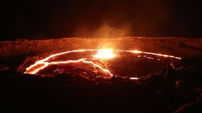 Lava lake of Volcano Erta Ale stock video