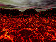 Lava landscape. Red lava landscape, 3D illustration Royalty Free Stock Photography