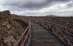 Lava landscape, walking path to observation point, Lanzarote. Walking path through the lava field and volcanos at Timanfaya national park on Lanzarote, the Stock Photos