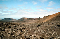 Lava layers. Layers of lava making a ridge face Lanzarote Royalty Free Stock Images