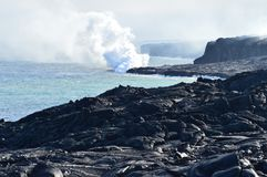 Lava Melting With The Sea royalty-vrije stock afbeeldingen