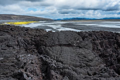 Lava Path. Path like petrified Lava stream, Highlands of Iceland Royalty Free Stock Photos