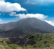 Lava Path Way on Pacaya Volcano in Guatemala. Landscape with Volcano in Background Stock Image